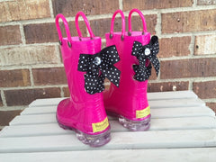 Light Up Hot Pink Sparkle Rain Boots with Black and White Polka Dot Bows