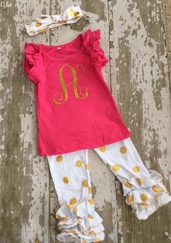 Gold and Hot Pink Initial/Number Outift with Ruffled Pants, Ruffled Shirt and Knot Headband