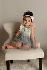 Blue Gray Suspender Dress