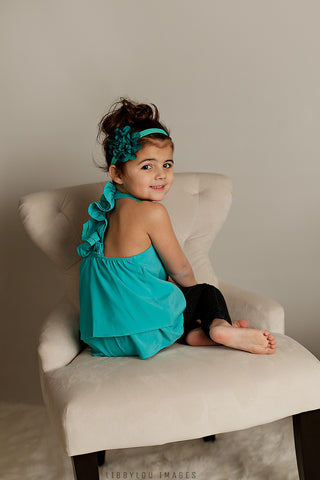 Teal Ruffled Back Tank