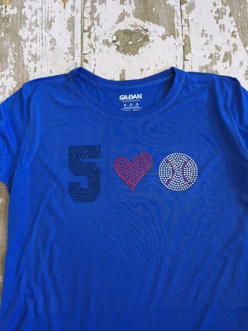 Personalized Rhinestone Peace Love and Ball Performance Shirt