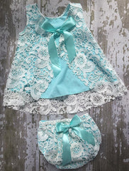 Aqua and White Lace Bloomer Set