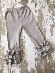 Light Gray Leggings with Ruffles
