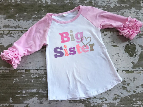 Big Sister Ruffled Sleeve Baseball Tshirt