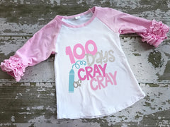 100 Days of Cray Cray Ruffled Raglan Shirt