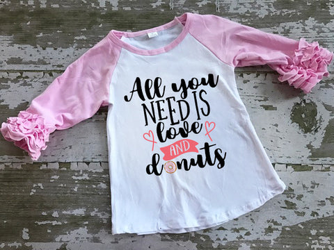 All You Need is Love and Donuts Ruffled Sleeve Baseball Tshirt