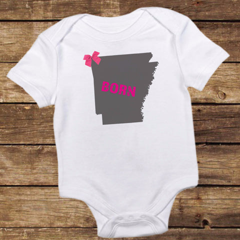 Arkansas Born Shirt with Bow