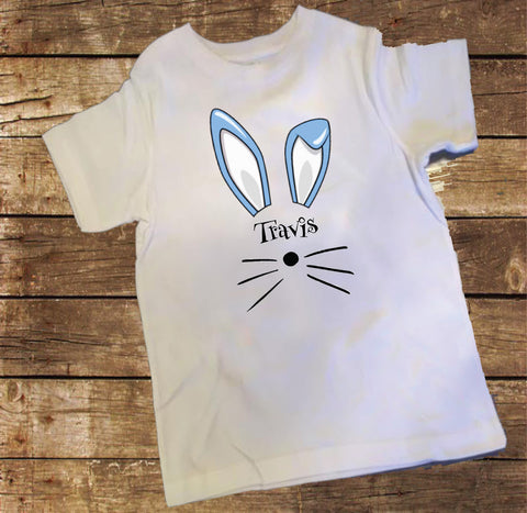 Personalized Blue Bunny Face Shirt