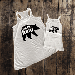 Baby Bear Mama Bear Silhouette Mommy + Me Tank Set