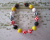 Mickey Mouse Inspired Chunky Bead Necklace