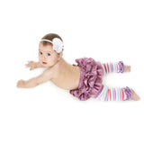 Copy of Mulberry Satin Ruffled Bloomer, Legwarmer and Headband Set