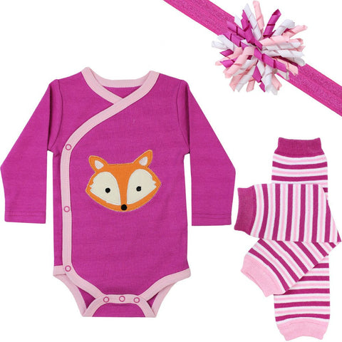 Fuschia Fox Onesie, Legwarmers and Headband Set