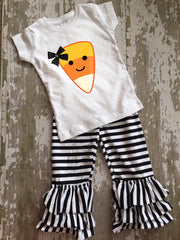 Candy Corn Shirt with Bow and Ruffled Pants Set