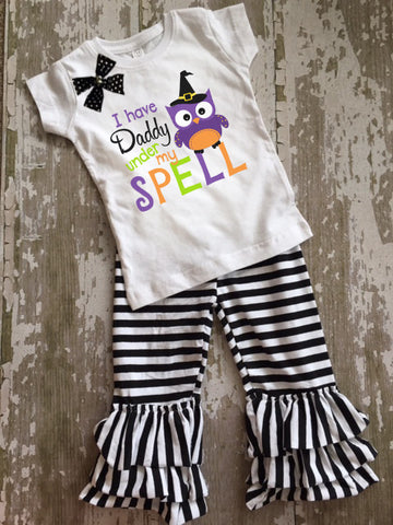 Have Daddy Under My Spell Shirt with Bow and Ruffled Pants Set