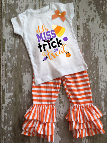 Lil Miss Trick or Treat Shirt with Bow and Ruffled Pants Set