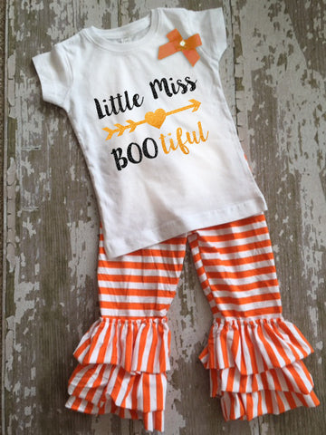 Little Miss Bootiful Shirt with Bow and Ruffled Pants Set