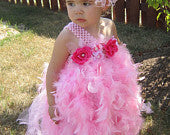 Pink Tutu and Feather One Shoulder Dress