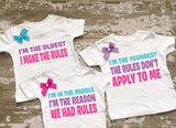 Sisters Rules Shirt Set with Bows on Shirts