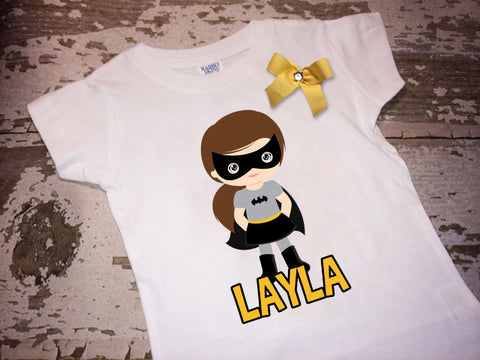 Personalized Batgirl Shirt with Bow