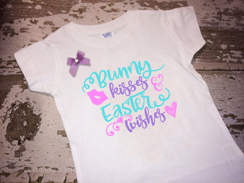 Bunny Kisses Easter Wishes Shirt with Bow