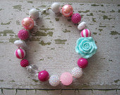Sweet Aqua & Pink Flower Chunky Bead Necklace