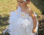 White Tutu and Feather One Shoulder Dress