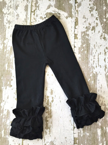 Black Leggings with Ruffles