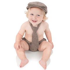 Brown Tweed Cabbie Hat, Diaper Cover & Tie Set