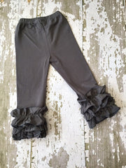 Dark Gray Leggings with Ruffles