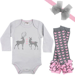 Doe Onesie, Legwarmers and Bow Headband Set