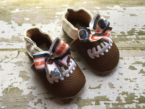 Baby Football Shoes with Team Ribbon of Your Choice