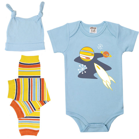 Galaxy Onesie, Legwarmers and Hat Set