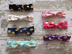 7 Colors to Choose From Cotton Gold Polka Dots Baby Knot Headband