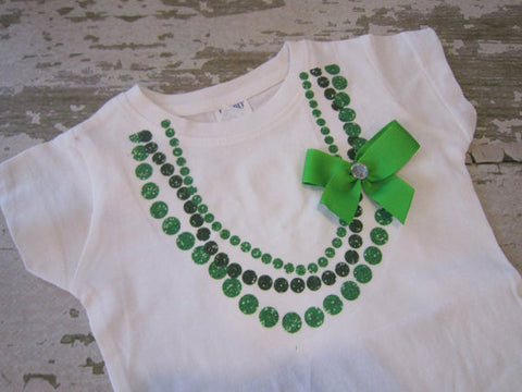 Green Necklace Shirt with Bow