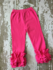 Hot Pink Leggings with Ruffles