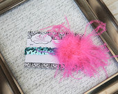 Bright Pink Curly on Turquoise Sequin Headband