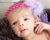 Lavender Boa Puff with Hot Pink Mini Gerber on Hot Pink Crochet Headband
