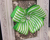 Double Layered Green Striped Bow