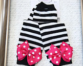 Black and White Zebra Striped Legwarmers with Hot Pink Polka Dot Bows