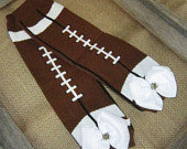 Football Legwarmers with White Bow and Tiny Rhinestone