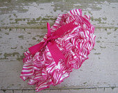 Hot Pink and White Zebra Satin Ruffle Bloomers