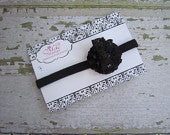 Black Ruffled Flower with Black Sequin Bow Headband