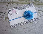Blue Mesh Flower Headband