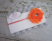 Orange Frayed Flower with Zebra Rhinestone Headband