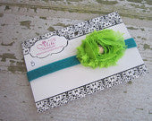 Green Frayed Flower with Rhinestone on Turquoise Skinny Headband