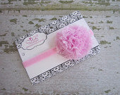 Light Pink Frayed Puff on Pink Skinny Headband