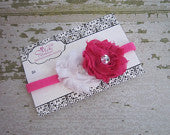 Hot Pink and White Double Frayed Flower with Rhinestones Skinny Headband