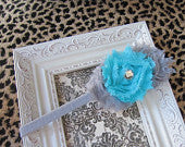 Gray and Turquoise Frayed Flower Skinny Headband