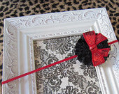 Black Ruffled Flower with Red Sequin Bow Super Skinny Headband
