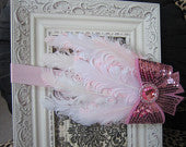 Light Feather and Pink Sequin Bow Nargorie Headband